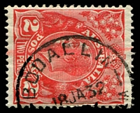 Lot 3363:Bodallin: - 'BODALLIN/18JA32/[WESTERN AUSTRA]LIA' (A27) on 2d red KGV.  RO 1/1/1920; PO 1/8/1924.
