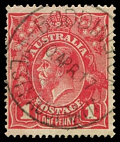 Lot 2988:Boddington: - 'BODDINGTON/10APR17/WESTN AUSTRALIA' on 1d red KGV.  PO 5/5/1916.