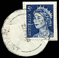 Lot 3178:Caron: - 'CARON/22FE68/WA-AUST' on 5d blue QEII (cut-to-shape).  RO 1/1/1922; PO 1/7/1927; closed 10/1/1970.