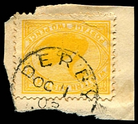 Lot 3390:Derby: - framed 'DERBY/OC1/02/[W.A.]' on 2d yellow Swan.  PO c.-/6/1884.