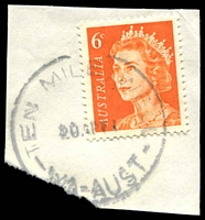 Lot 3058:Ten Mile Well: - 'TEN MILE WELL/20AP71/WA-AUST' on 6c orange QEII.  PO 1/7/1963; renamed Henderson PO 1/8/1974.