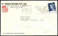 Lot 4682:St. George Motors Pty. Ltd. cover with small logo franked with 5c blue QEII and 12 Dec 1968 Sydney slogan cancel.