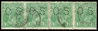 Lot 1354:1½d Green Die I - [11R57-60] strip of 4, unit 60 with Broken crown top and listed varieties on units 58 & 59 present, unit 57 variety absent, perf 'OS'.