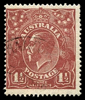Lot 1481:1½d Red-Brown Die I - [11L59] Filled in A and C joined to E in HALFPENCE, couple of short perfs.