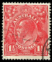 Lot 1909:1½d Red Die I - BW #89(21)ma [21R24] Two billed emu retouched, retouched again, Cat $18.