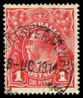 Lot 1329:Armatree Railway: - '[AR]MATREE RAILWAY/8-OC.1914/N[.S.W.]' on 1d red KGV. [A similar copy realised $105 in auction 90.]  RO 15/7/1903; PO 15/10/1906; renamed Armatree PO 1/6/1916.