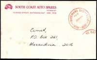 Lot 5676:Bateman's Bay (2): - 'BATEMANS BAY/PAID/30MY85/NSW-AUST-2536' in red on South Coast Auto Spares, Batemans Bay (small logo) cover (tone spots).  PO 1/4/1862.