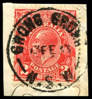 Lot 6254:Grong Grong (2): 'GRONG GRONG/13FE33/N.S.W' (Type 2A - LRD) on 2d red KGV.  Renamed from Grong Grong R.S. PO 3/1/1898.