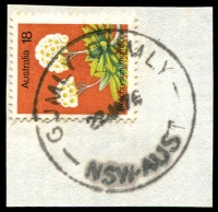 Lot 6624:Gumly Gumly: - 'GUMLY GUMLY/22JA76/NSW-AUST' on 18c Flower.  TO 20/5/1935; PO 15/6/1936.