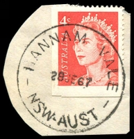 Lot 1372:Hannam Vale: - 'HANNAM VALE/28JE67/NSW-AUST' on 4c red QEII.  RO 11/12/1907; PO 1/1/1909; closed 31/1/1979.
