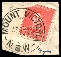 Lot 1410:Mount Victoria: - 'MOUNT VICTORIA/13NO40/N.S.W' on 2d red KGVI (corner missing).  Renamed from One Tree Hill PO 1/7/1876.