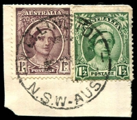 Lot 1470:Wellington: - 'WELLINGTON/??MR4?/N.S.W-AUST' on 1d maroon & 1½d green QE. [Not recorded by Hopson & Tobin.]  PO 1/4/1838.