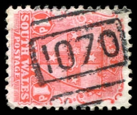 Lot 5459:1070: BN on 1d Arms. [Rated SS]  Allocated to Towrang-PO 1/4/1881; closed 30/6/1976.