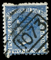 Lot 1267:1073: BN on 2d blue DLR. [Rated 3R]  Allocated to Cabbage Tree-RO 16/11/1880; PO 1/4/1881; renamed Fairy Meadow PO 10/9/1883.