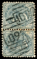 Lot 5466:1092: 2 partly overlapping strikes of '1092' BN on ½d grey pair. [Rated 2R]  Allocated to Balala-PO 1/8/1881; TO 4/5/1940; closed 4/7/1942.