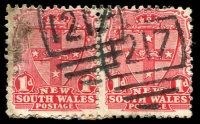 Lot 6009:1217: 2 partly overlapping strikes of BN on 1d Arms pair.  Allocated to Brownsville-PO 16/9/1883.