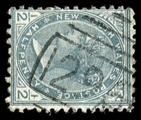Lot 5527:1296: '1296' BN on ½d grey. [Rated SS]  Allocated to Rosewood-PO 1/8/1885.