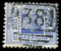 Lot 6300:1381: '1381' BN on 2d blue.  Allocated to Euriowie-PO 16/8/1887; PO 31/1/1889; closed 5/5/1936.