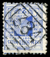 Lot 6301:1384: BN on 2d blue.  Allocated to Hornsby Junction-RO 16/4/1887; PO 15/9/1887; renamed Hornsby PO 1/5/1900.
