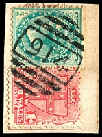Lot 5943:914: BN on ½d green & 1d Arms.  Allocated to Miller's Point-PO 6/2/1878.