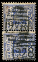 Lot 6191:928: 2 partly overlapping strikes of BN on 2d blue pair. [Rated SS]  Allocated to Tweed Heads-PO 1/7/1878.