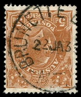 Lot 1491:Brunette Downs: - 'BRUNETTE D[OWNS]/22JA3?/N.T.' on 5d brown KGV.  WS c.-/12/1926; PO 11/12/1934; closed 31/3/1962.