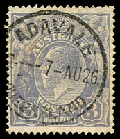 Lot 8414:Adavale: - 'ADAVALE/4---7-AU26/QUEENSLAND' (recut) on 3d blue KGV.  PO 1/1/1881; closed 1/2/1991.