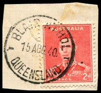 Lot 1560:Blair Athol: - 25mm 'BLAIR ATHOL/15AUG40/QUEENSLAND' (dots recut to dashes) on 2d red KGVI.  PO c.-/12/1910; closed 29/4/1977.