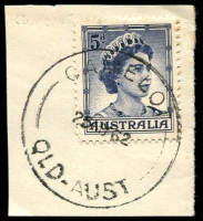 Lot 7214:Camelot: - 'CAMELOT/25MY62/QLD-AUST' (ERD) on 5d blue QEII. [Rated 3R]  PO 2/8/1948; closed 31/8/1977.