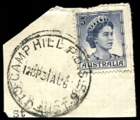 Lot 8620:Camp Hill Postal Depot: - 'CAMP HILL P.D.S.E.6/1245P31AU6?/QLD-AUST' (LRD) on 5d blue QEII. [Rated 3R]
