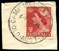 Lot 8069:Camp Hill West: - 'CAMP HILL WEST S.E.6/4-P23MY58/QLD-AUST' on 3½d red QEII.  PO 7/12/1955; closed 30/4/1979.