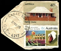 Lot 7344:Canal Estates: - 'CANAL ESTATES/27MR73/QLD-4217' on 8c Ord River & 40c Pioneer (faulty).  PO 28/11/1969; closed 21/7/1978.