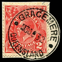 Lot 8855:Gracemere: - 'GRACEMERE/3OC32/QUEENSLAND' on 2d red KGV (cut-to-shape). [Rated 2R]  PO 1/1/1871.