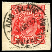 Lot 7419:Lamb Island: 'LAMB ISLAND/14MY32/QUEENSLAND' (ERD) on 2d red KGV. [Usage during Telegraph Office period?]  PO 1/12/1946; closed 1/8/1970.