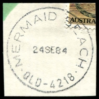 Lot 8527:Mermaid Beach: - 'MERMAID BEACH/24SE84/QLD-4218' (LRD) on 1c (cut-to-shape through stamp). [Rated 2R]  PO 1/9/1948.