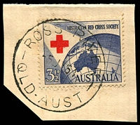 Lot 9236:Ross River: - 'ROSS RIVER/-5JY54/QLD-AUST' on 3½d Red Cross. [Rated 2R]  RO c.1892; PO 1/7/1927; closed 31/3/1967.