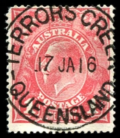 Lot 7759:Terrors Creek: 'TERRORS CREEEK/17JA16/QUEENSLAND' on 1d red KGV. [Unauthorised impression from Brisbane Postal museum.]  Renamed from Hamilton PO c.1892; renamed Dayboro PO 24/5/1917.