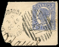 Lot 7089:557: BN on 2d 4-Corners (missing corner) tied by unframed 'DI[RRA]NBANDI/7P/OC15/00/QUEENSLAND' (ERD - B2).  Allocated to Dirranbandi-PO 1/1/1889.