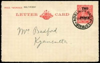 Lot 1772:Adelaide Railway: - 'ADELAIDE RAILY/1045A22SE30/STHAUST.' on 2d on 1½d red KGV Letter Card.  TO c.1856; PO c.1909; renamed Hindley Street Adelaide PO 25/1/1965.