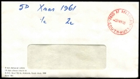 "Lot 1775:Balaklava: - red 'PAID AT BALAKLAVA/29MY70/SOUTH-AUST' (ERD) on window faced cover (""5D Xmas 1961"" written on front). [Rated 3R - Previously recorded for 1 month only.]  PO 1/8/1871."