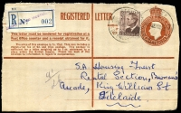 Lot 9541:Gepp's Cross Hostel: - 2 strikes of 'RELIEF/10/?15A5OC53/SOUTH-AUST.' on 2½d brown KGVI on 1/0½d Registered Letter (front only) with blue provisional 'GEPPS CROSS HOSTEL' (violet handstamp) label, addressed to Adelaide.  PO 10/11/1952; closed 10/3/1965.