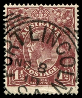Lot 1908:Port Lincoln: - 28mm squared-circle 'PORT LINCOLN/NO8/19/S.A' on 1½d brown KGV.  PO 20/6/1839.