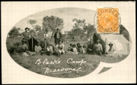 Lot 3184 [1 of 2]:Cunderdin: - 'CUNDERDIN/?0NO28/WESTN AUST.' (B28) on ½d orange KGV (underpaid?) on face of black & white real photo private PPC 'Blacks Camp, Maroonah', addressed to Abyssinie.  PO 1/3/1903.
