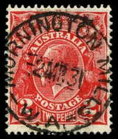 Lot 3267:Mornington (2): - 'MORNINGTON MILLS/2MR31/W.A.' on 2d red KGV.  PO 17/5/1900; closed 30/11/1967.