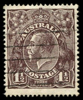 Lot 415:1½d Black-Brown Die I BW #84(1)f [1L20] White flaws between right of kangaroo's head and A and left of large 1 in left value tablet, Cat $30.