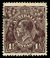 Lot 416:1½d Black-Brown Die I BW #84(1)g [1R7] White spot on front of emu, Cat $30, couple of blunt perfs.