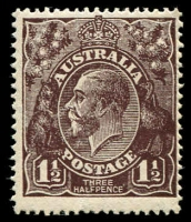Lot 418:1½d Black-Brown Die I BW #84(1)k [1R36] White flaw on 4th bloom of right wattles, Cat $45+, MUH.