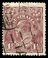 Lot 2537:1½d Brown Die I - BW #86(3)ea [3L8] White flaw in left border, opposite foot of kangaroo, and white flaw under H of HALFPENCE - state II - additional white flaw in left border, Cat $30, some fluffy perfs.