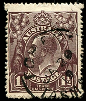 Lot 1254:1½d Black-Brown Die I - BW #83(3)ea [3L8] White flaw in left border, opposite foot of kangaroo, and white flaw under H of HALFPENCE - state II - additional white flaw in left border, Cat $40, fluffy perfs.