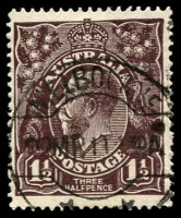 Lot 1099:1½d Black-Brown Die I - [1R6] Small spur in white border in TRC, etc.